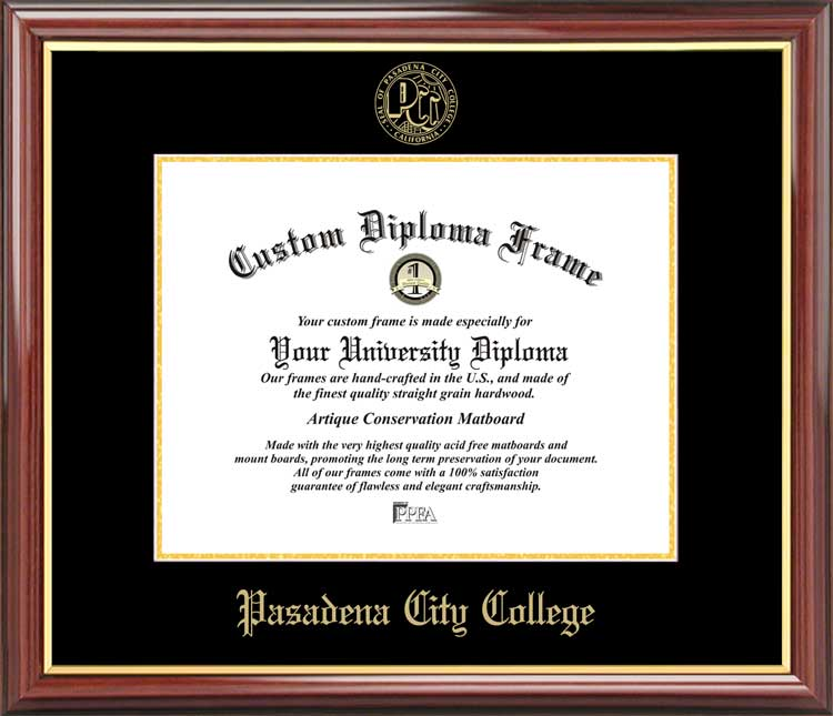 College - Pasadena City College Lancers - Embossed Seal - Mahogany Gold Trim - Diploma Frame