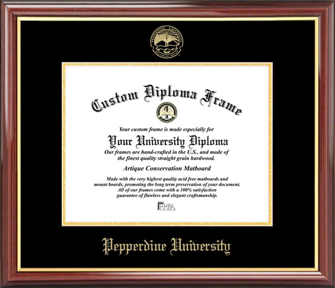 College - Pepperdine University Waves - Embossed Seal - Mahogany Gold Trim - Diploma Frame
