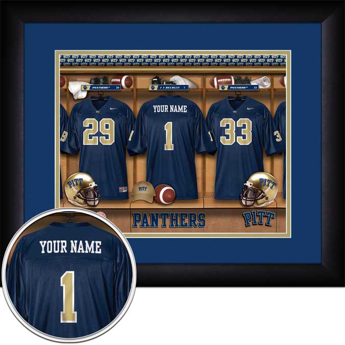 College - Pittsburgh Panthers - Personalized Locker Room - Framed Picture