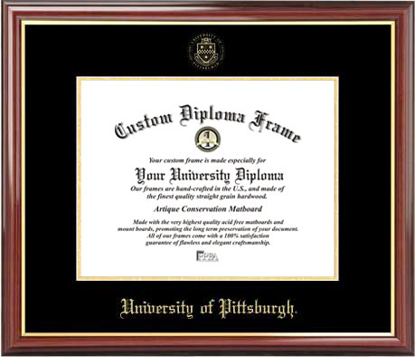 College - University of Pittsburgh Panthers - Embossed Seal - Mahogany Gold Trim - Diploma Frame