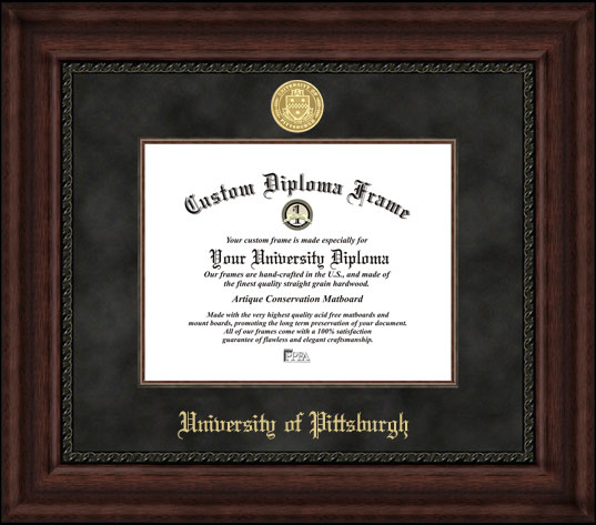 College - University of Pittsburgh Panthers - Gold Medallion - Suede Mat - Mahogany - Diploma Frame