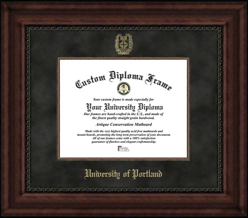 College - University of Portland Pilots - Embossed Seal - Suede Mat - Mahogany - Diploma Frame