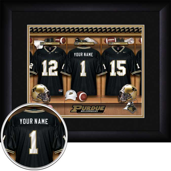 College - Purdue Boilermakers - Personalized Locker Room - Framed Picture