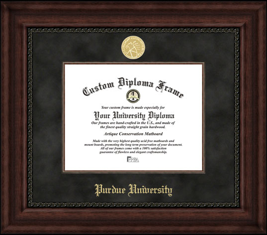 College - Purdue University Boilermakers - Gold Medallion - Suede Mat - Mahogany - Diploma Frame