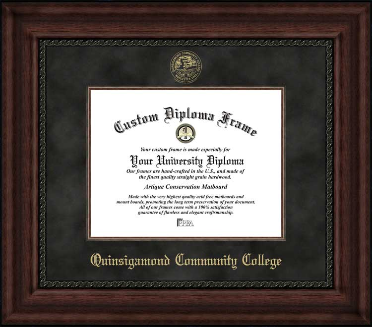 College - Quinsigamond Community College Wyverns - Embossed Seal - Suede Mat - Mahogany - Diploma Frame