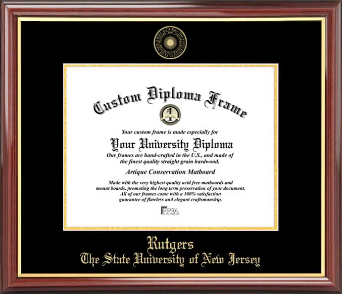 College - Rutgers University Scarlet Knights - Embossed Seal - Mahogany Gold Trim - Diploma Frame