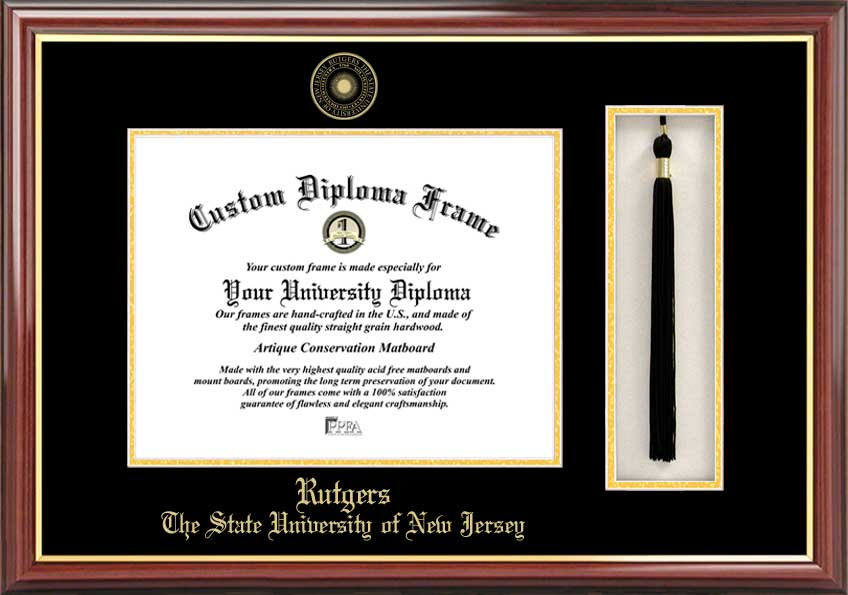 College - Rutgers University Scarlet Knights - Embossed Seal - Tassel Box - Mahogany - Diploma Frame