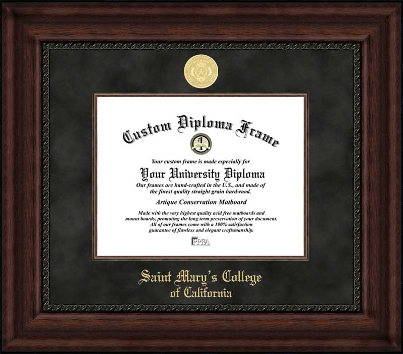 College - Saint Mary's College of California Gaels - Gold Medallion - Suede Mat - Mahogany - Diploma Frame