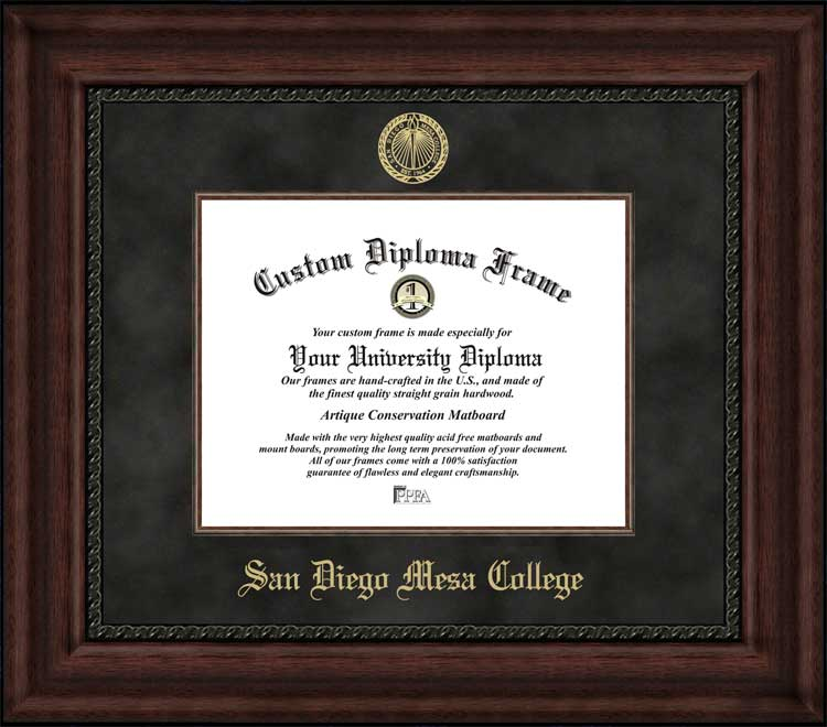 College - San Diego Mesa College  - Embossed Seal - Suede Mat - Mahogany - Diploma Frame