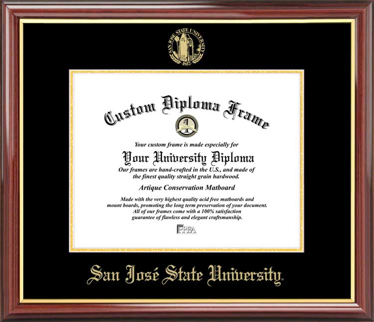 College - San Jose State University Spartans - Embossed Seal - Mahogany Gold Trim - Diploma Frame