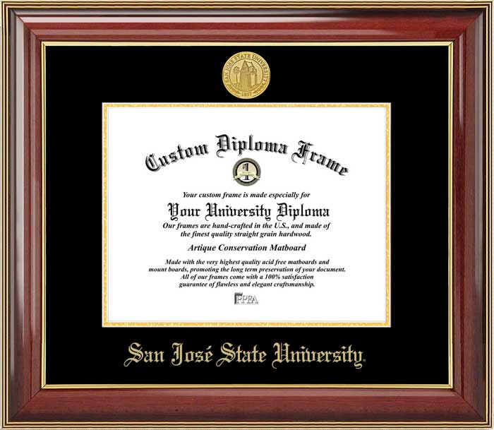 College - San Jose State University Spartans - Gold Medallion - Mahogany Gold Trim - Diploma Frame