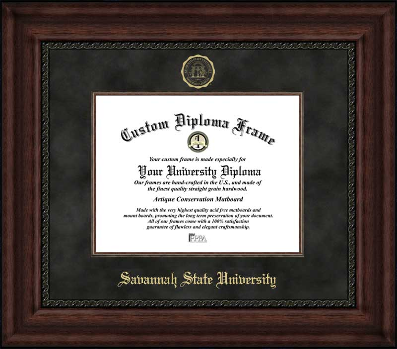 College - Savannah State University Tigers - Embossed Seal - Suede Mat - Mahogany - Diploma Frame