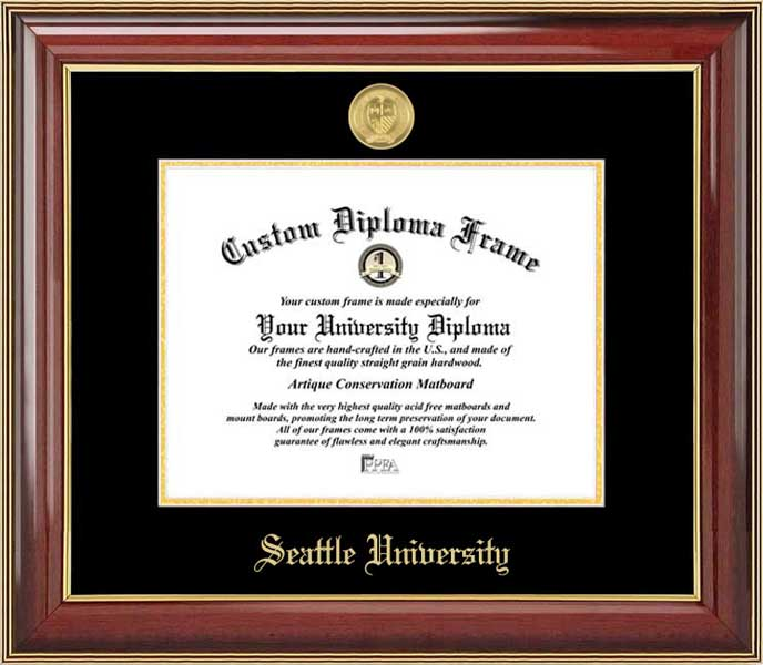 College - Seattle University Redhawks - Gold Medallion - Mahogany Gold Trim - Diploma Frame