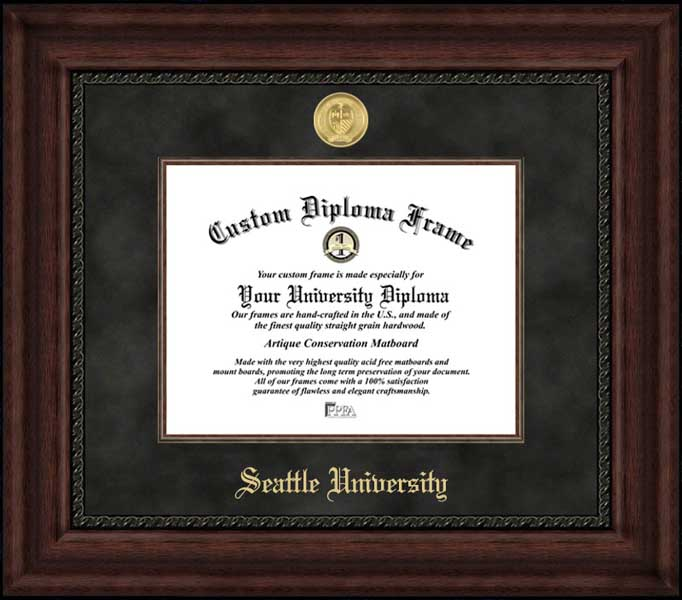 College - Seattle University Redhawks - Gold Medallion - Suede Mat - Mahogany - Diploma Frame