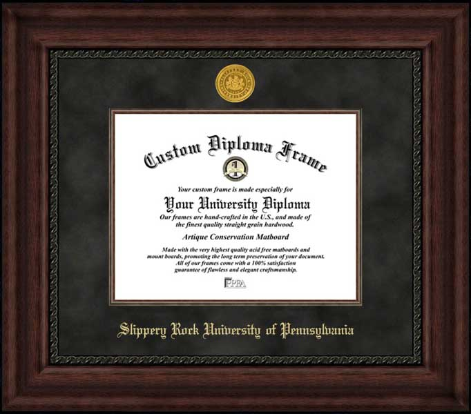 College - Slippery Rock University of Pennsylvania The Rock - Gold Medallion - Suede Mat - Mahogany - Diploma Frame