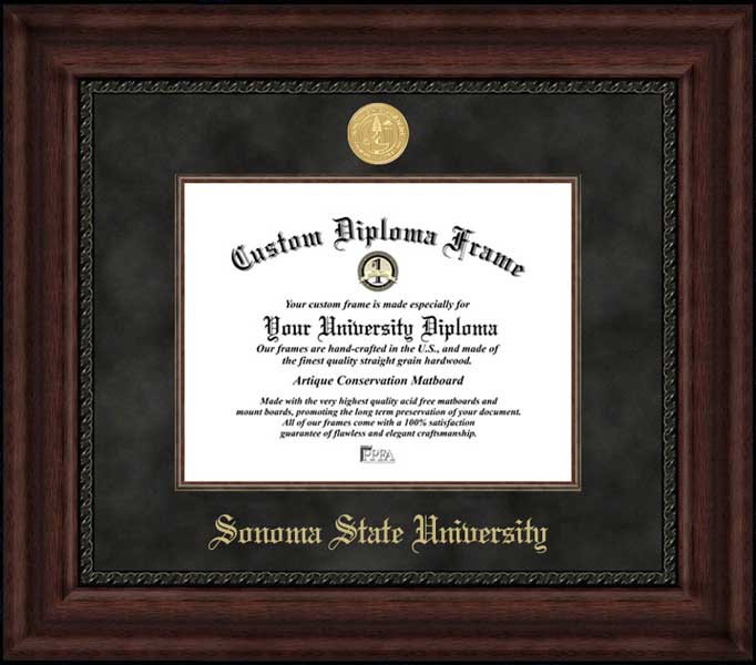 College - Sonoma State University Seawolves - Gold Medallion - Suede Mat - Mahogany - Diploma Frame