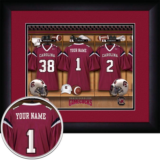 College - South Carolina Gamecocks - Personalized Locker Room - Framed Picture