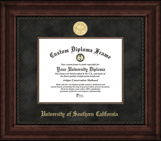 College - University of Southern California Trojans - Gold Medallion - Suede Mat - Mahogany - Diploma Frame