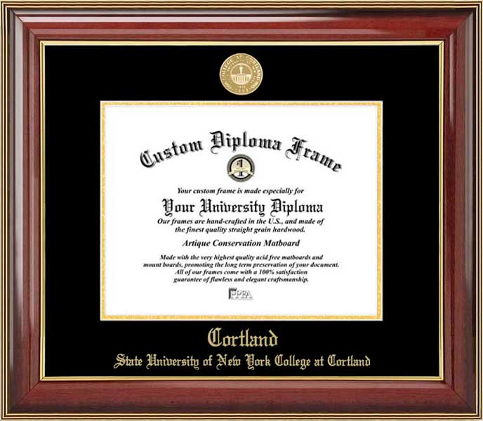 College - SUNY College at Cortland Red Dragons - Gold Medallion - Mahogany Gold Trim - Diploma Frame