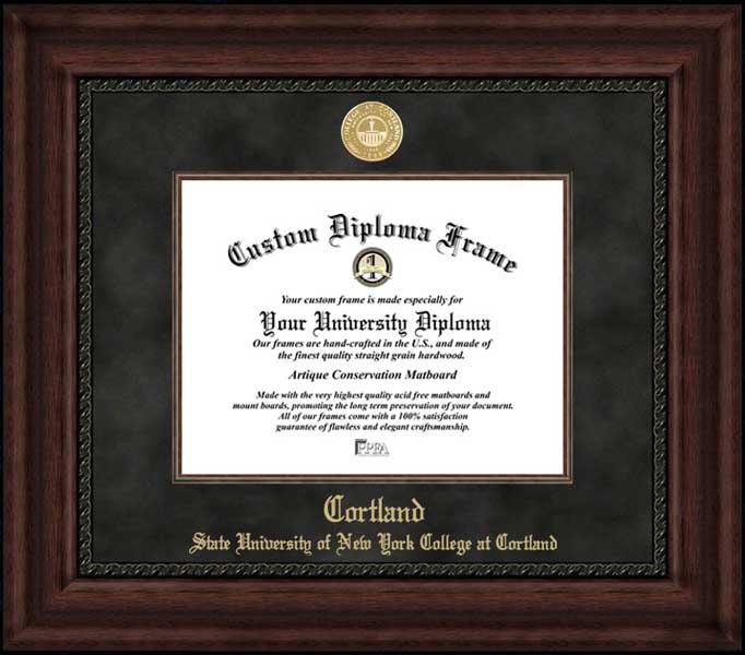 College - SUNY College at Cortland Red Dragons - Gold Medallion - Suede Mat - Mahogany - Diploma Frame