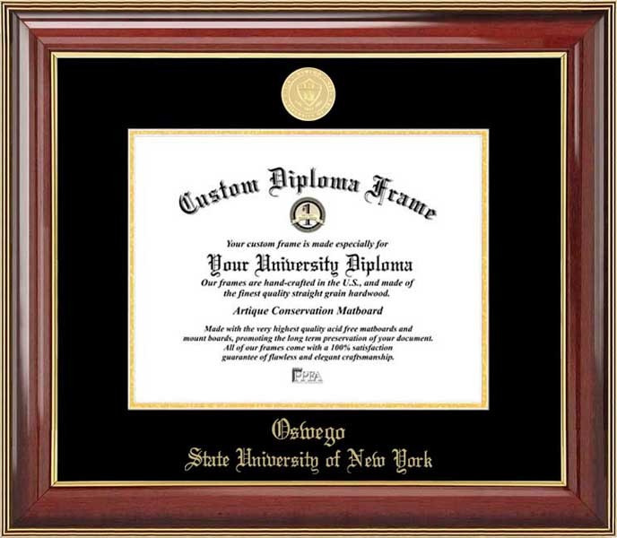 College - State University of New York at Oswego Lakers - Gold Medallion - Mahogany Gold Trim - Diploma Frame