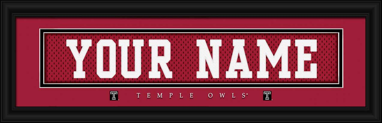 College - Temple Owls - Personalized Jersey Nameplate - Framed Picture