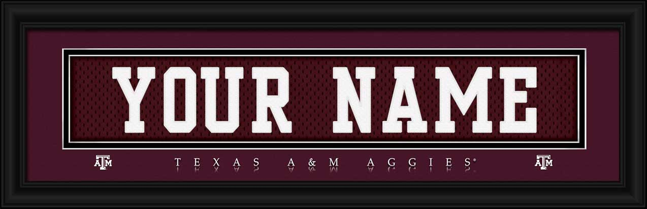 College - Texas A&M Aggies - Personalized Jersey Nameplate - Framed Picture