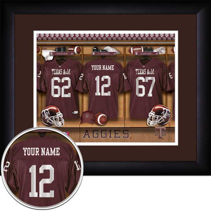 College - Texas A&M Aggies - Personalized Locker Room - Framed Picture