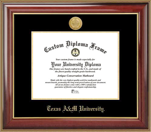College - Texas A&M University Aggies - Gold Medallion - Mahogany Gold Trim - Diploma Frame