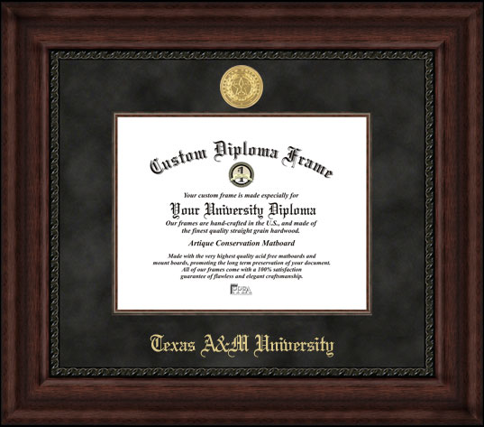 College - Texas A&M University Aggies - Gold Medallion - Suede Mat - Mahogany - Diploma Frame