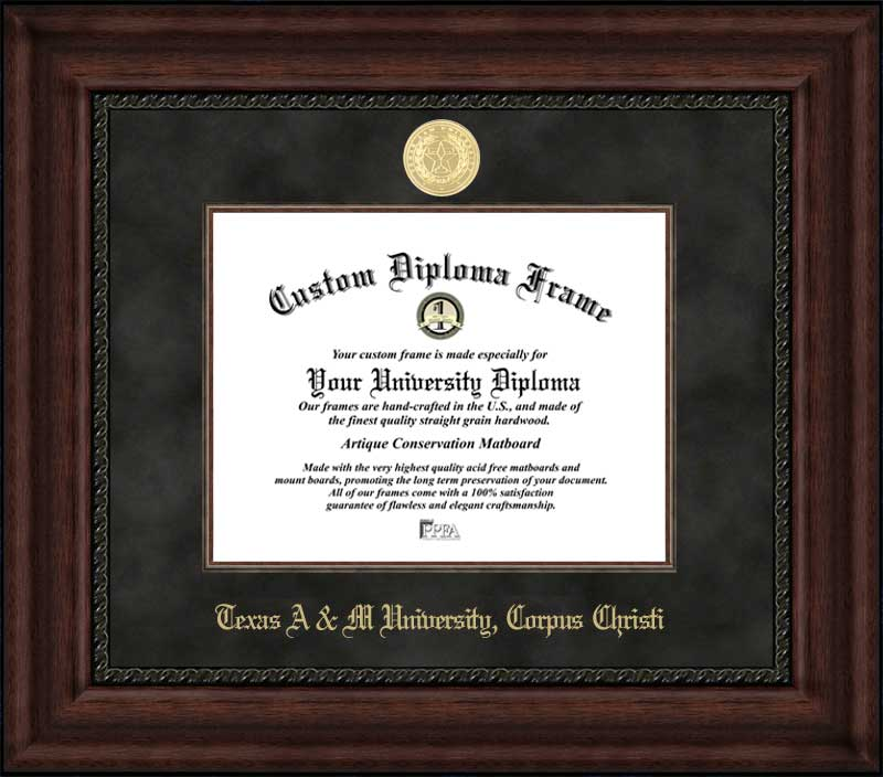 College - Texas A&M University Corpus Christi Islanders - Gold Medallion - Suede Mat - Mahogany - Diploma Frame