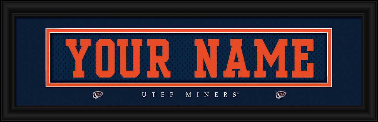 College - Texas El Paso Miners - Personalized Jersey Nameplate - Framed Picture