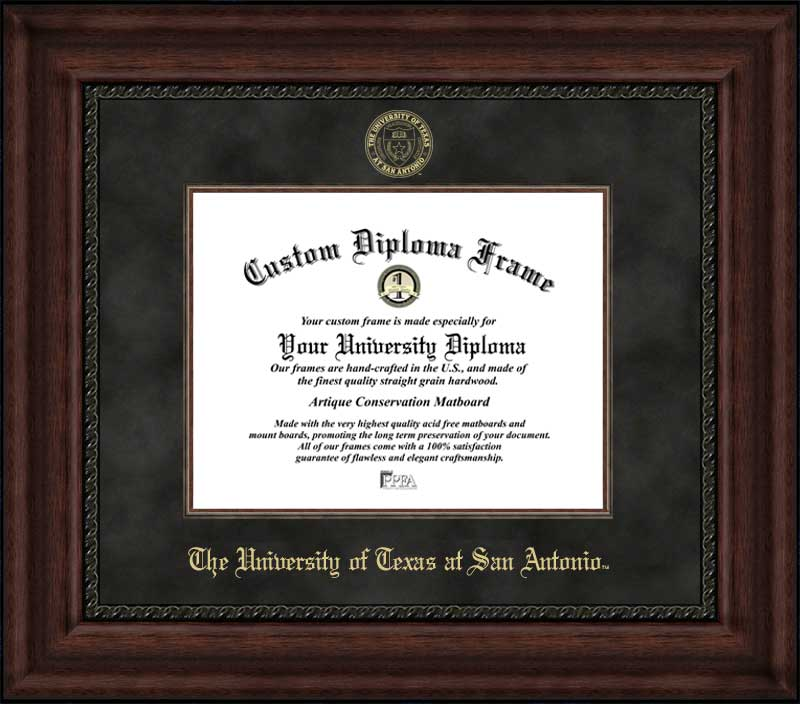 College - University of Texas at San Antonio Roadrunners - Embossed Seal - Suede Mat - Mahogany - Diploma Frame