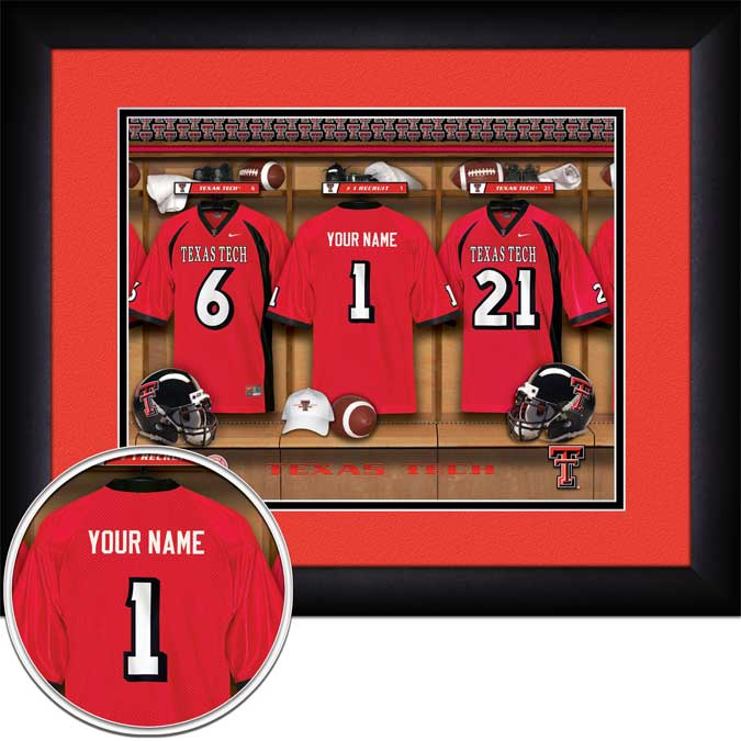 College - Texas Tech Red Raiders - Personalized Locker Room - Framed Picture