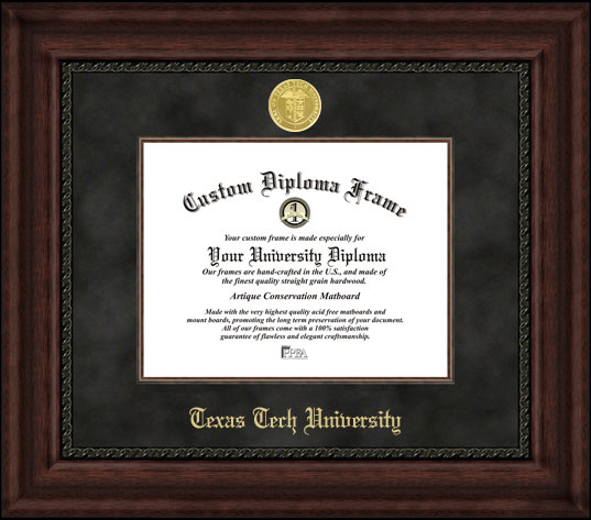 College - Texas Tech University Red Raiders - Gold Medallion - Suede Mat - Mahogany - Diploma Frame