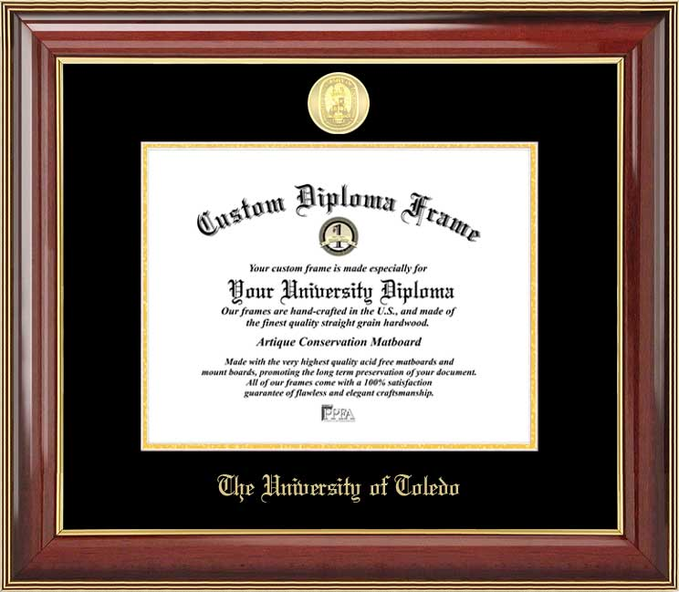 College - University of Toledo Rockets - Gold Medallion - Mahogany Gold Trim - Diploma Frame