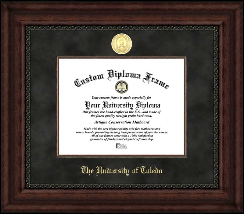 College - University of Toledo Rockets - Gold Medallion - Suede Mat - Mahogany - Diploma Frame