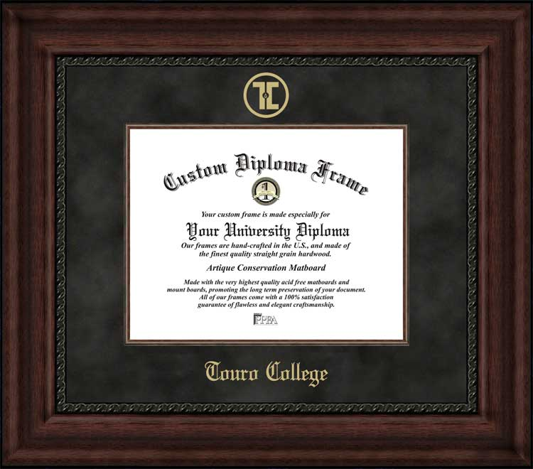 College - Touro College  - Embossed Seal - Suede Mat - Mahogany - Diploma Frame