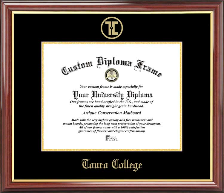College - Touro College  - Embossed Seal - Mahogany Gold Trim - Diploma Frame