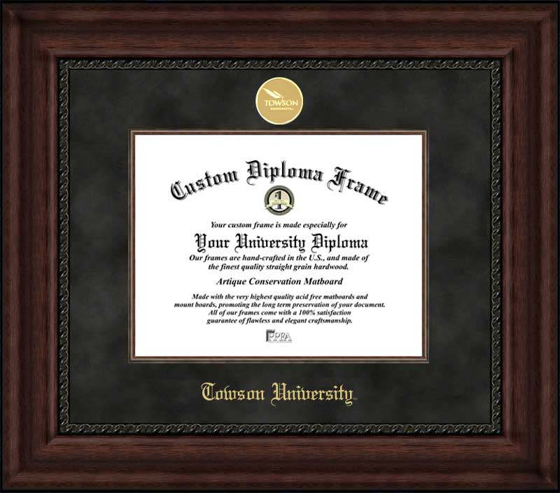 College - Towson University Tigers - Gold Medallion - Suede Mat - Mahogany - Diploma Frame