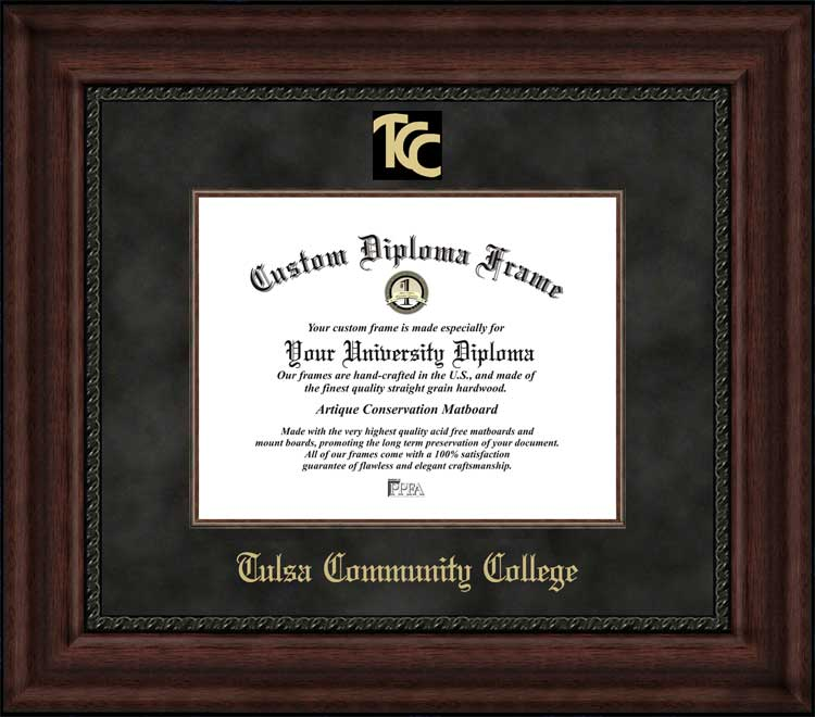 College - Tulsa Community College  - Embossed Seal - Suede Mat - Mahogany - Diploma Frame