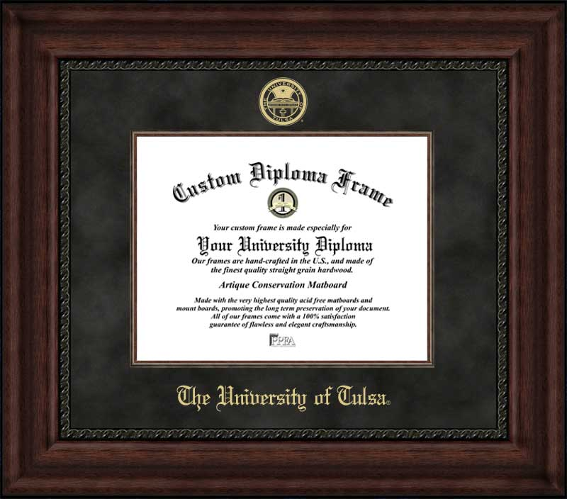 College - University of Tulsa Golden Hurricane - Embossed Seal - Suede Mat - Mahogany - Diploma Frame