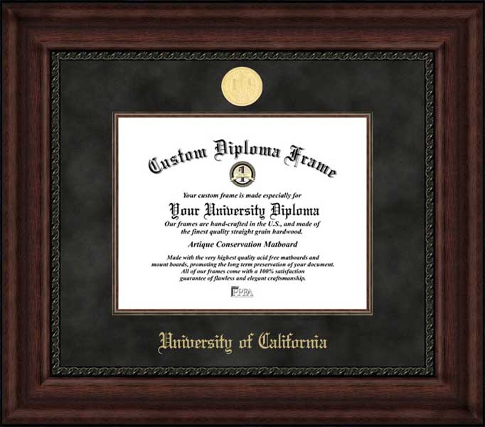College - University of California  - Gold Medallion - Suede Mat - Mahogany - Diploma Frame