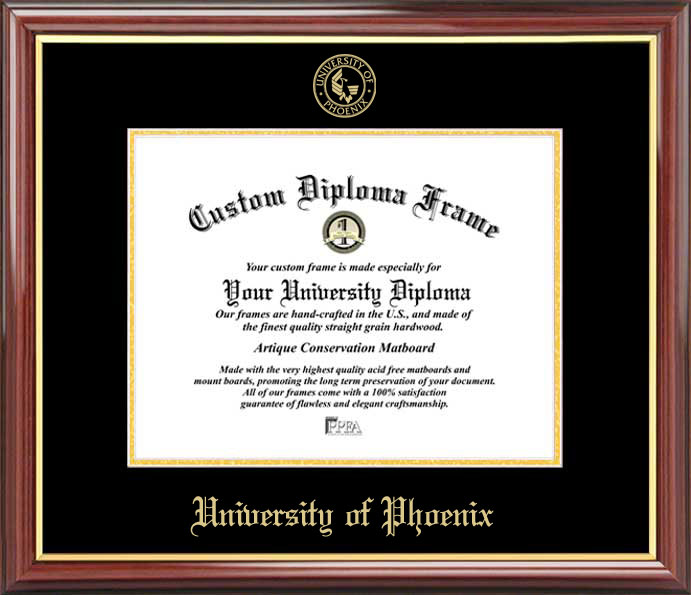 College - University of Phoenix  - Embossed Seal - Mahogany Gold Trim - Diploma Frame