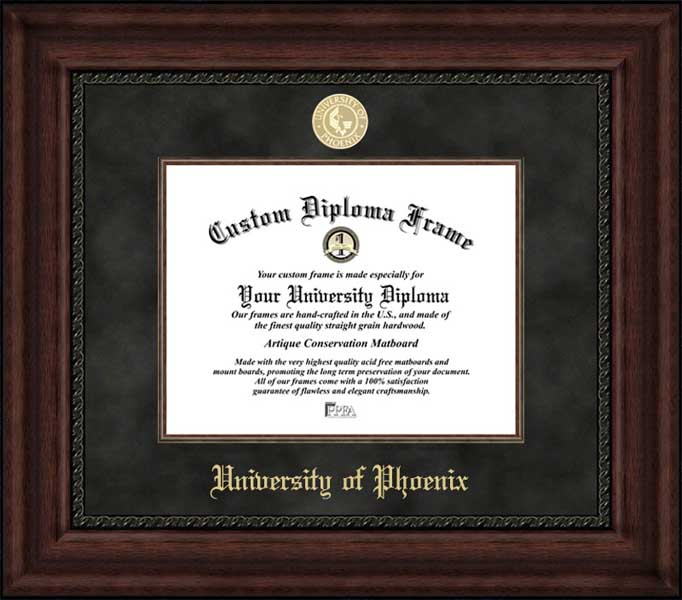 College - University of Phoenix  - Gold Medallion - Suede Mat - Mahogany - Diploma Frame