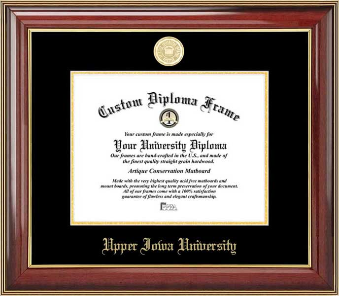 College - Upper Iowa University Peacocks - Gold Medallion - Mahogany Gold Trim - Diploma Frame