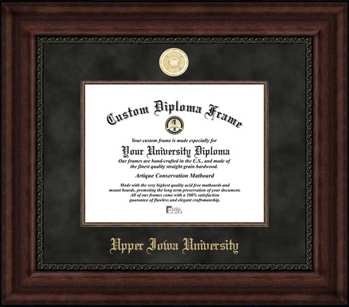 College - Upper Iowa University Peacocks - Gold Medallion - Suede Mat - Mahogany - Diploma Frame