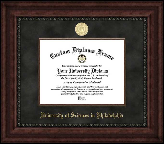 College - University of the Sciences in Philadelphia Devils - Gold Medallion - Suede Mat - Mahogany - Diploma Frame