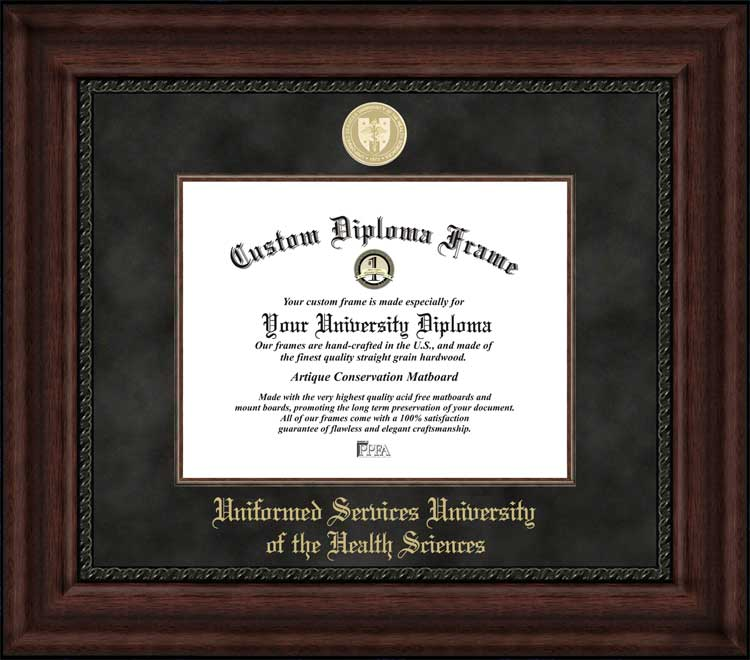 College - Uniformed Services University of the Health Sciences  - Gold Medallion - Suede Mat - Mahogany - Diploma Frame