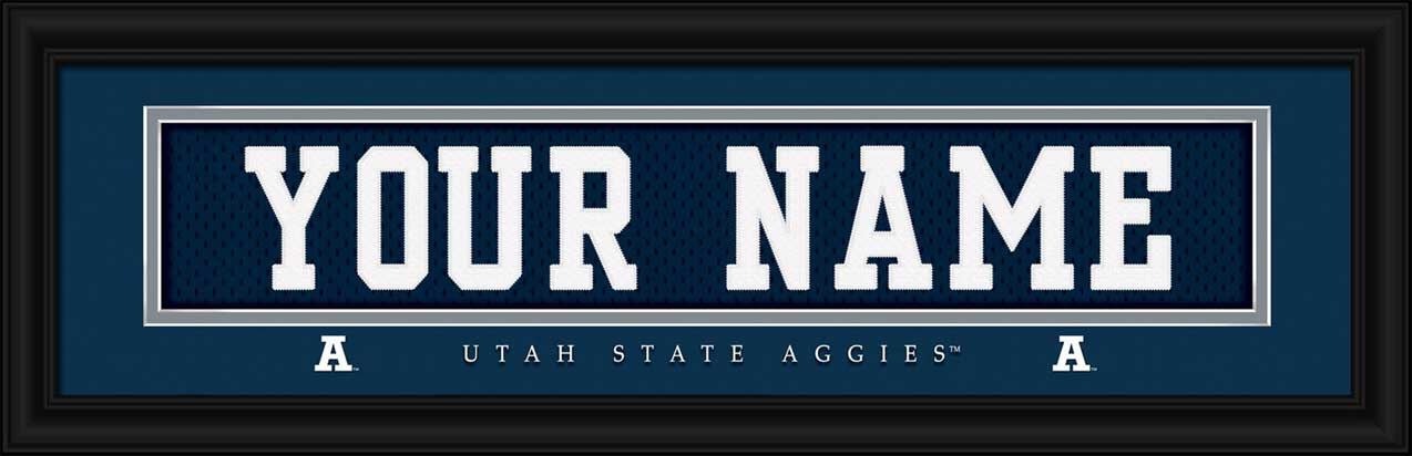 College - Utah State Aggies - Personalized Jersey Nameplate - Framed Picture